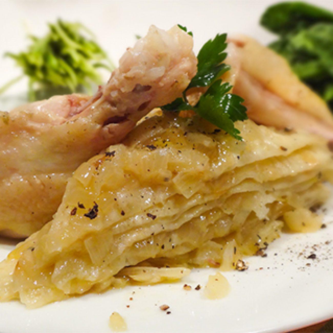 Чепалгаш с луком и курицей (Chechen Pancakes with Onions and Chicken – ЧIепалгаш)