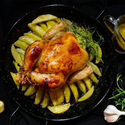 Цыплята с эстрагоном, чесноком и апельсиновым мармеладом
