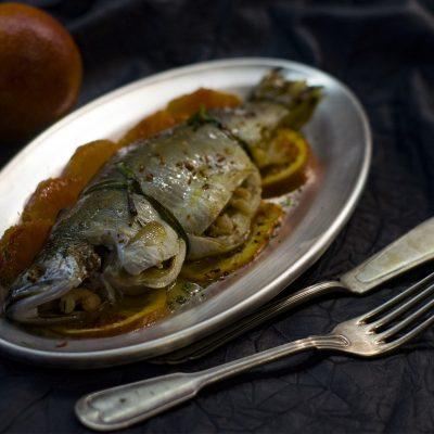 Форель с сицилийскими апельсинами и креветками (Trout with Sicilian Oranges and Shrimps)